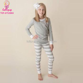 e4dbe296a4 Wholesale Christmas Pajamas Children Girls 2PCS Clothing Sets Heather Grey  Stripes Cotton Blank Pajamas Kids Pyjamas