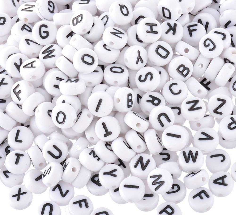 "Akak Store Pack of 200 Mixed 4 x 7 mm Round White Acrylic Plastic Beads with Black Letters/ Alphabet Letter ""A-z"" Cube Beads for Bracelets,Necklaces, Key Chains and Kid Jewelry"