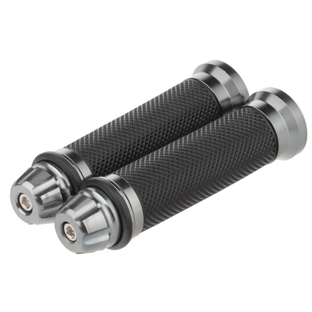 New Arrival One Pair Durable Motocycle Cycling Aluminum Alloy Lock-on Nonslip Rubber Handle Bar Grip Black + Grey P50