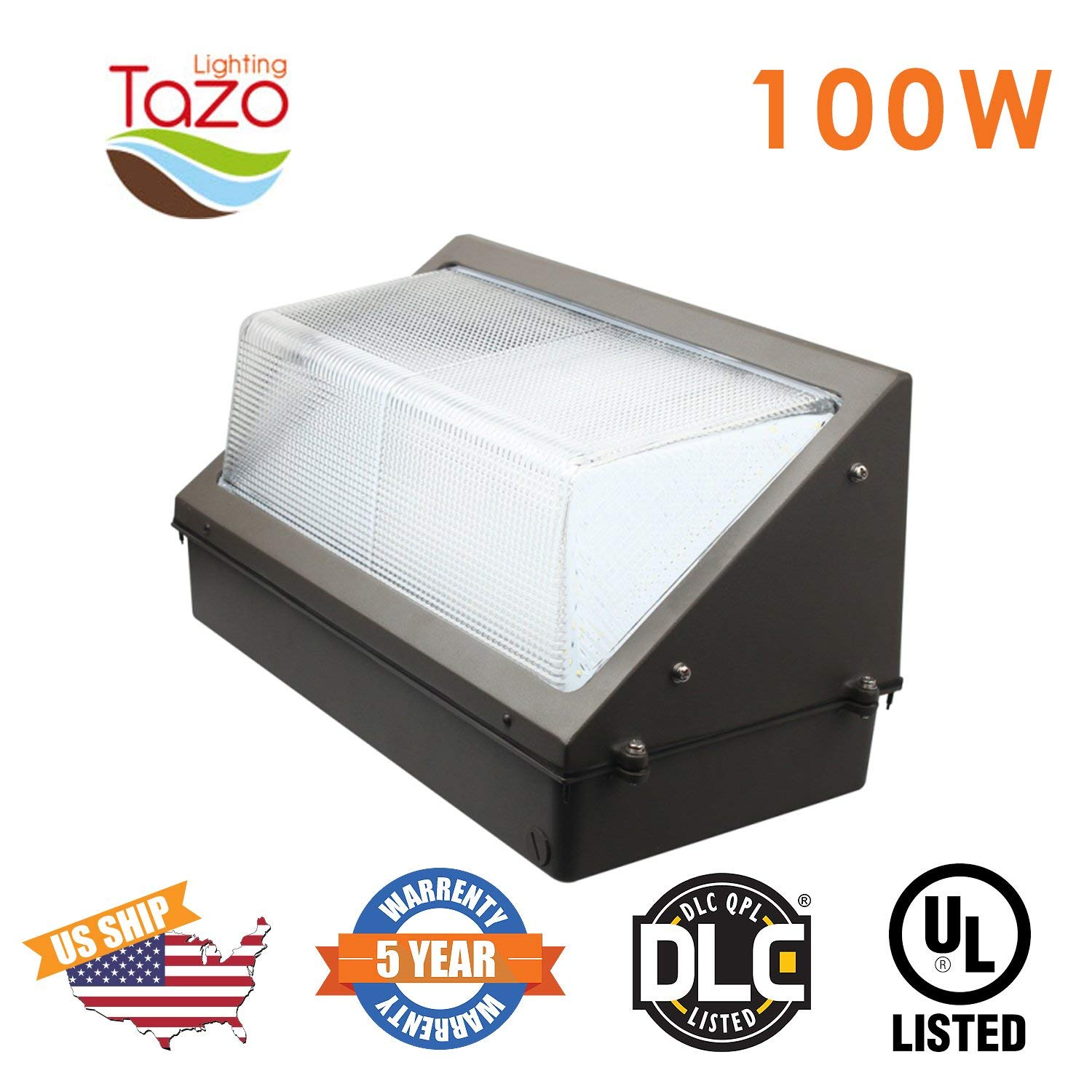 TAZO LIGHTING 100W LED Wall Pack Light, 2700-7000K LED Security Lighting Fixture, 8000-9000 Lumens(200-300W MH/HPS Equivalent), IP65 Outdoor Industrial and Commercial Aare Lighting (UL-Listed)