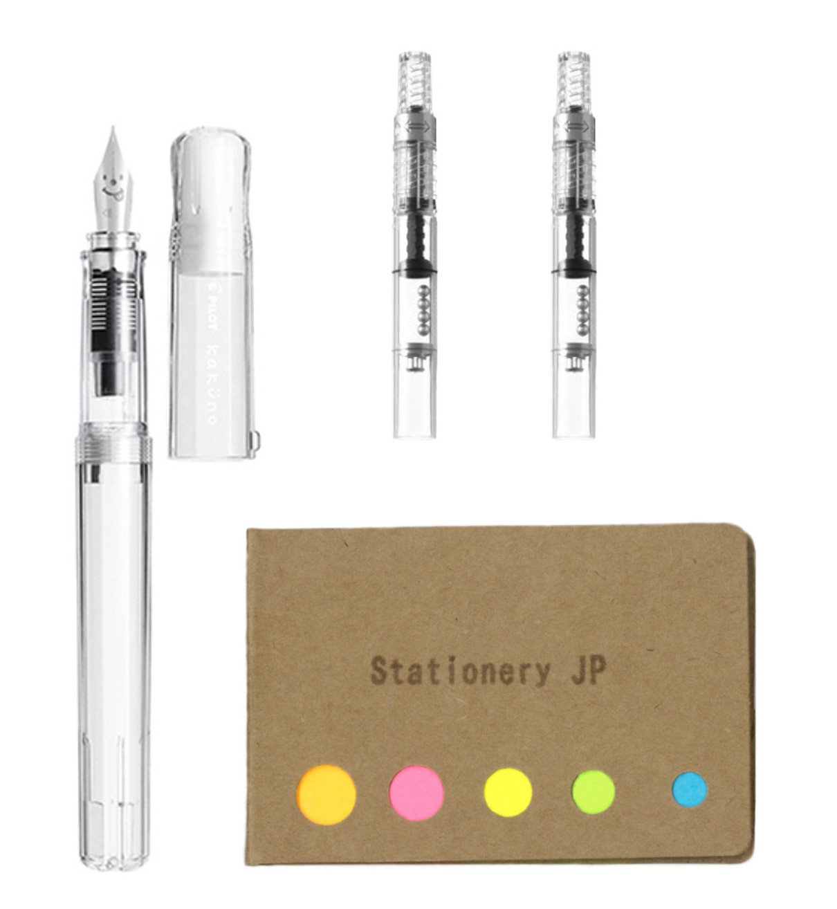 Pilot Kakuno Fountain Pen, Extra Fine Nib, Non Color Body, Pilot Fountain Pen Converter, CON-40, 2-Pieces, Sticky Notes Value Set