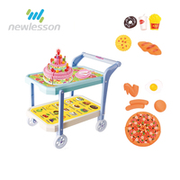 Electric birthday cake cart play house plastic toy with light and music