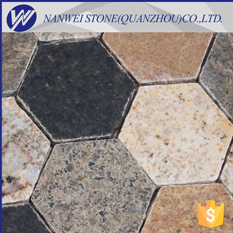 Paving Stone Type brick edging cobble stone together granite and hexagon sexangle paving Small pebbles Decorative Natural <strong>Grain</strong>