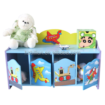 Fashion Kids Wooden Hand Painted Plane Theme Storage Cupboard Bench