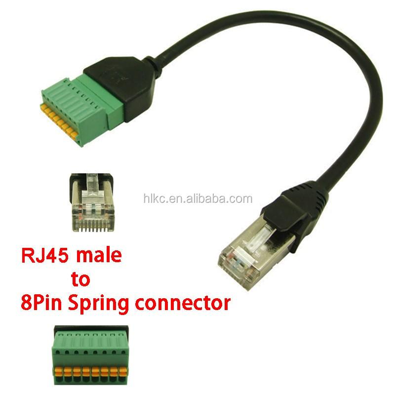 rj45 ethernet plug to 8 pin av terminal screw adapter for block cctv