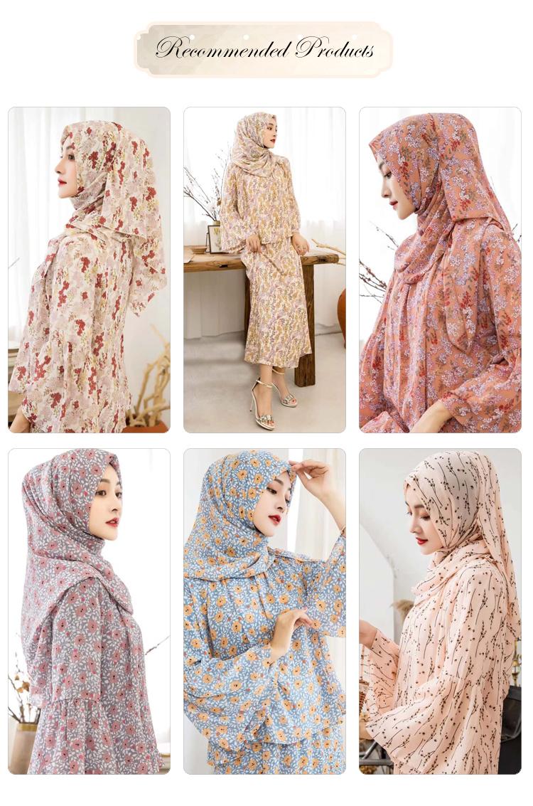 Desain Baru Malaysia Abaya Muslim Lengan Panjang Abaya Wanita Dicetak Bunga Sifon Baju Kurung Melayu Modern