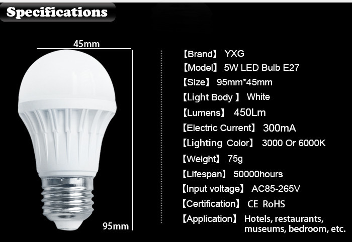 New design!!!! Quality best sell 5w led bulb light lampe A50 e27