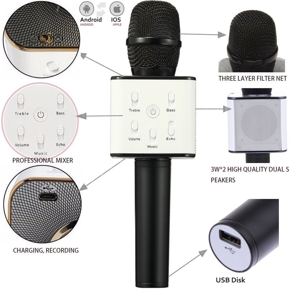 1ca9ac59bac Get Quotations · DLH MOBILE Portable Wireless Karaoke Microphone
