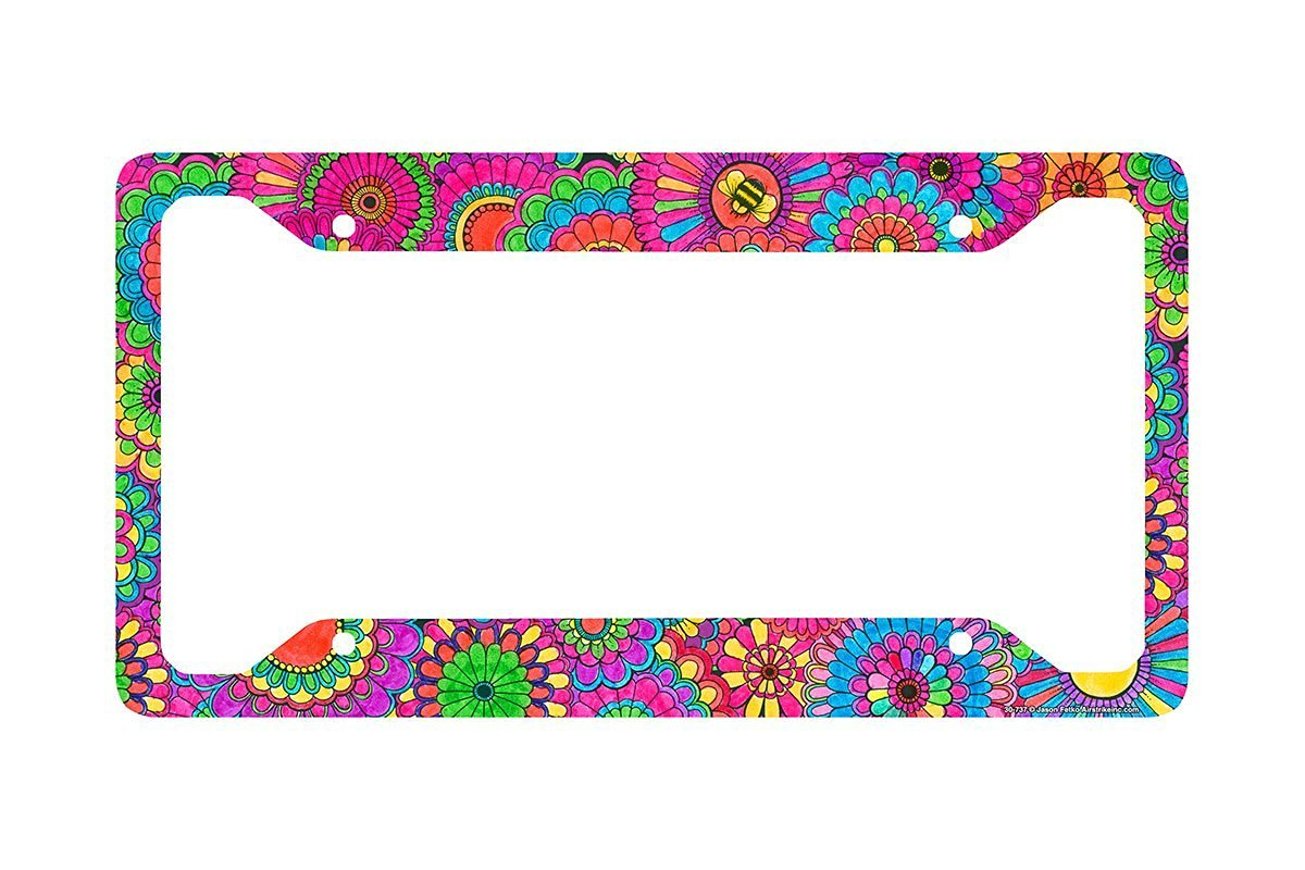 Airstrike Flower and Bee License Plate Frame, Floral Pattern Car Tag Frame, Gears License Plate Holder, Cute License Plate Frame-30-737