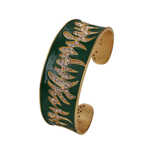 bangle-195 xuping 24k dubai gold adjustable enamel bangle, rhinestone fashion women jewelry