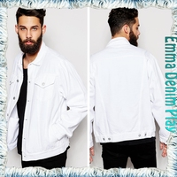 Pure White Washed Windbreaker 4 Pockets Man's Long Denim Jackets