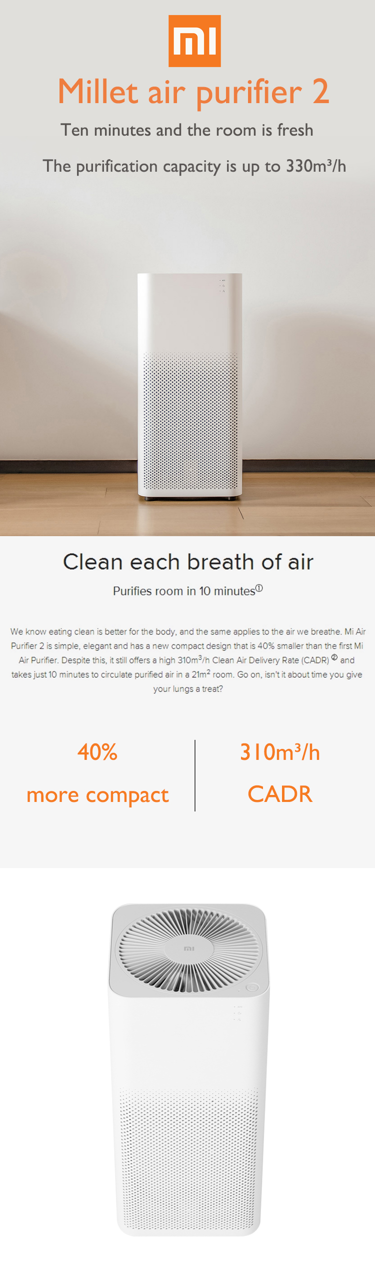 The newest original Xiaomi Air Purifier 2 Smartphone Remote Control Purifying PM 2.5 Cleaning CADR 330m3/h Xaomi MI Air Cleaner
