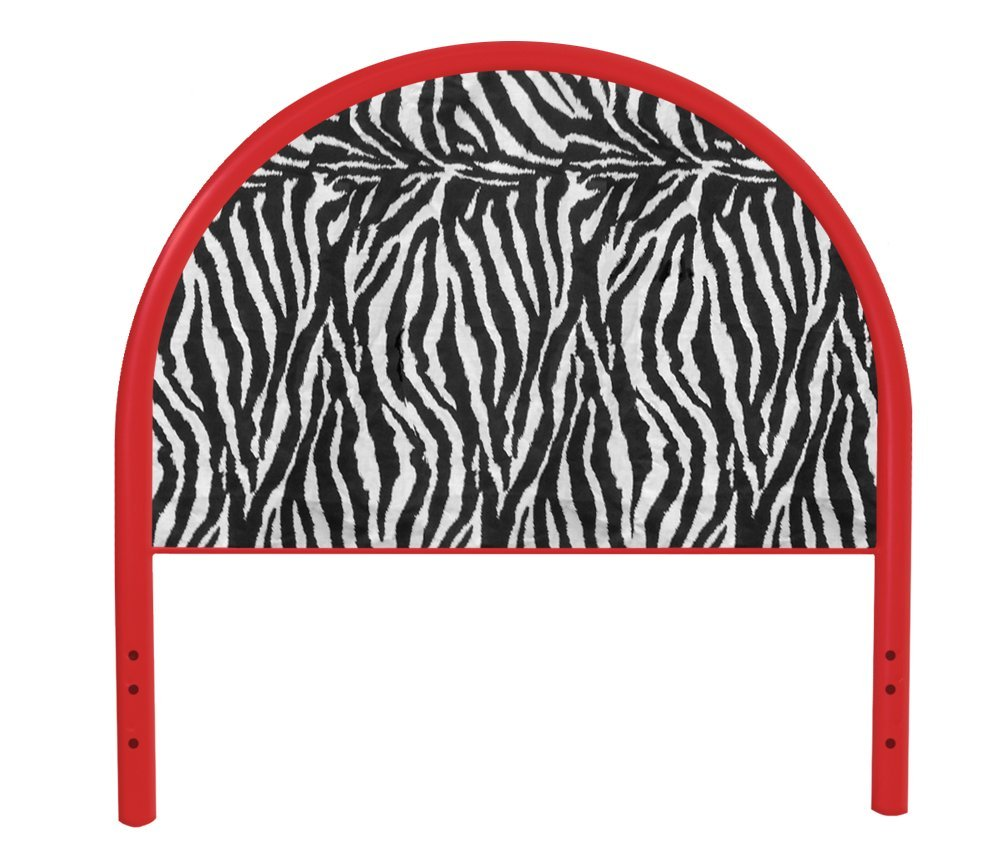 The Furniture Cove New Twin Size Children's Youth Red Metal Headboard with Custom Zebra Animal Print Upholstered Headboard