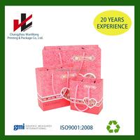 gift kraft paper bag gift bag shopping paper bag with pink ribbon handle
