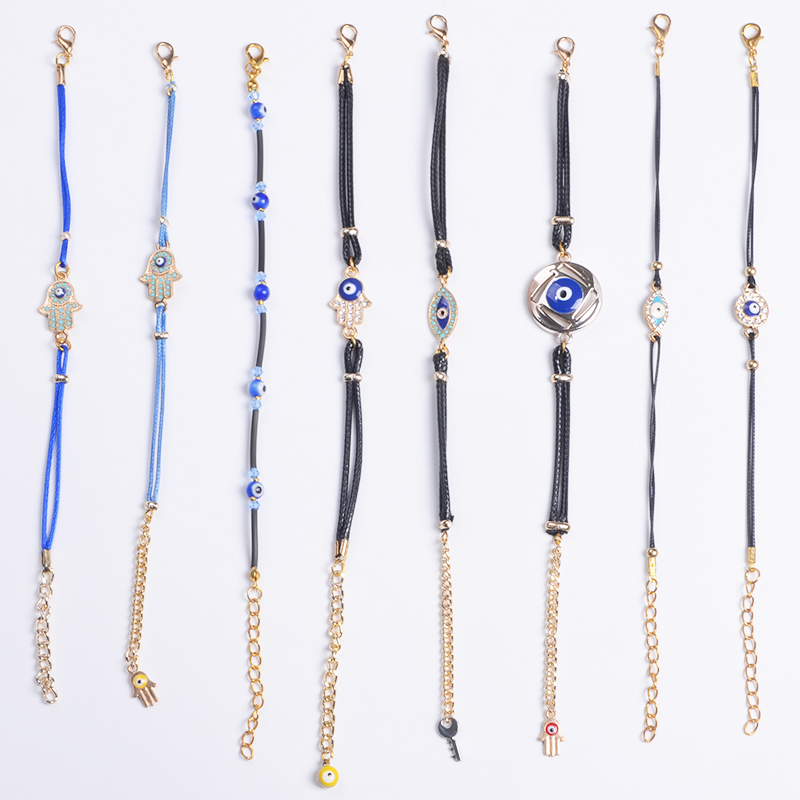 Wholesale all kinds of Cord Bracelets and Bangles with Turkish Evil Eye Hamsa Promotional Bracelet Gift Factory