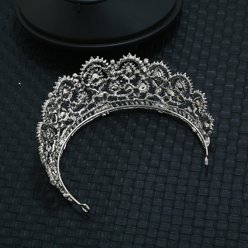 Newest Wedding Accessory Zinc Alloy Crystal Queen Crown Bridal Jewelry