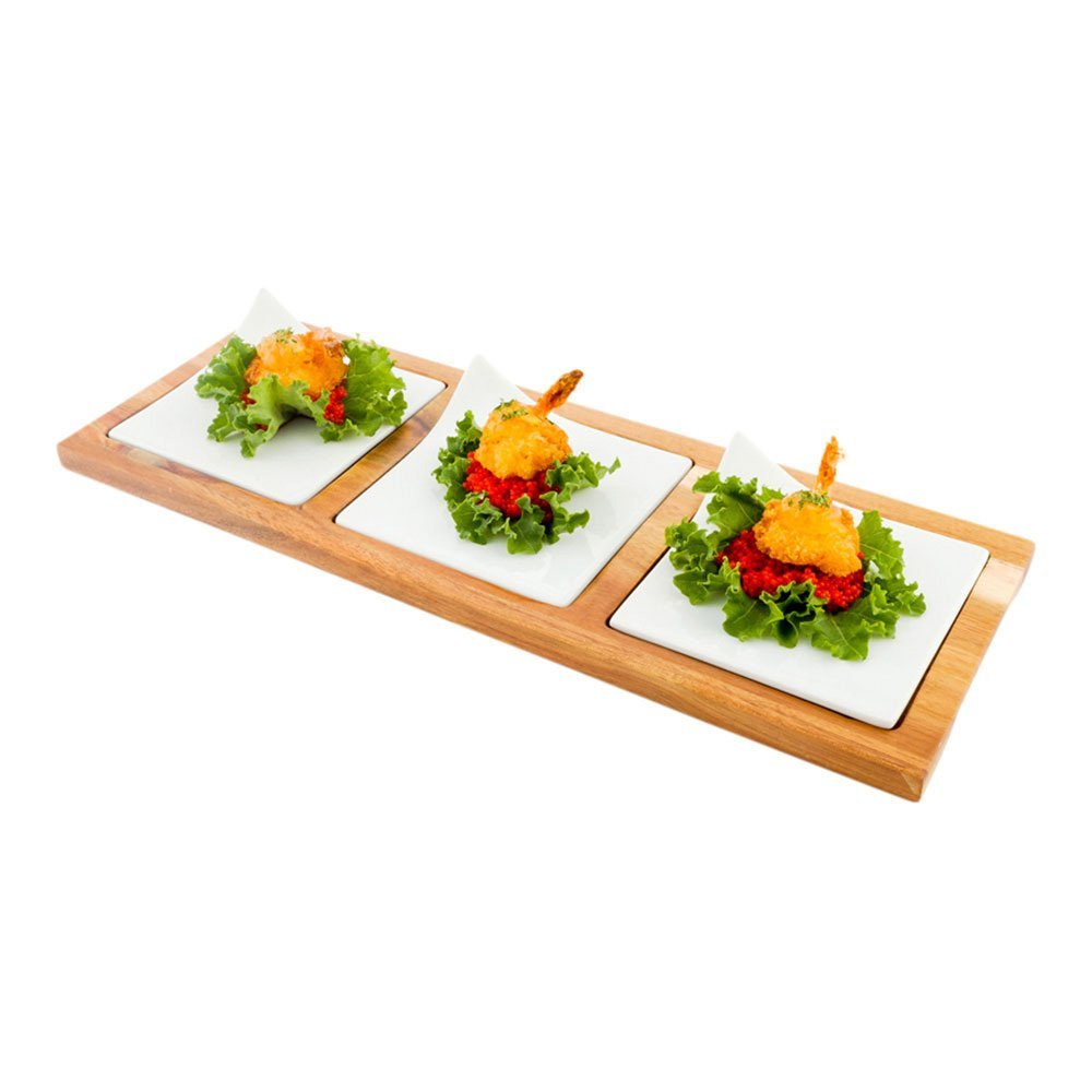 """Porcelain Square Plate Set with Tray - Three 4"""" Plates with Bamboo Tray - Great for Parties, Appetizers or Serving Snacks - White - 1ct Box - Restaurantware"""
