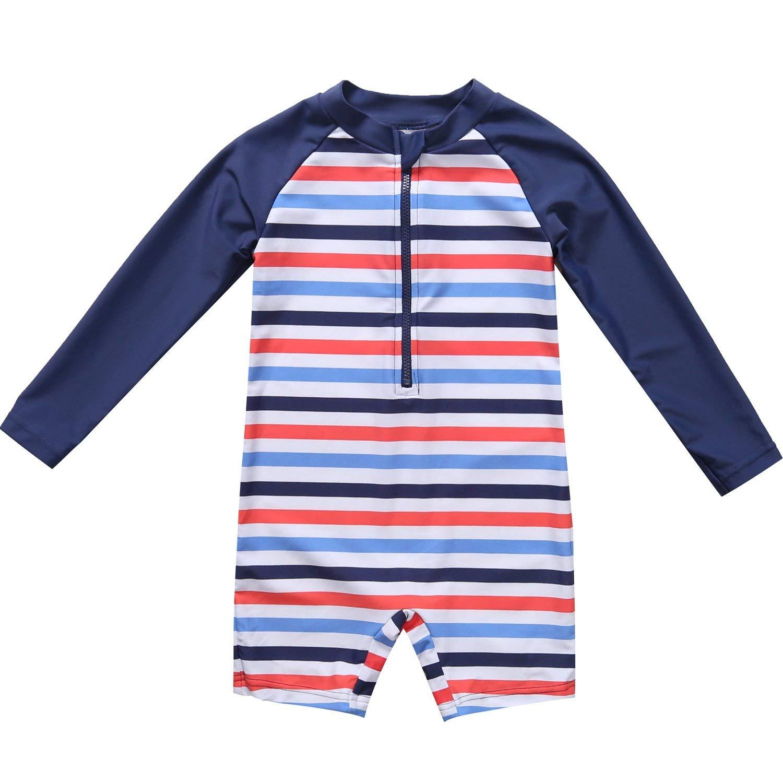 eb5f233cea Get Quotations · Sociala Toddler Little Boy's Long Sleeve Rash Guard Baby  Boy One Piece Swimsuit