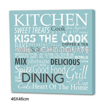Vintage Kitchen Wording Canvas Oil Painting