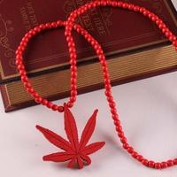 2017 YIWU High Quality Hip Hop New Fashion Custom Wholesale In Bulk Beads Wood Maple Leaf Pendant Necklace