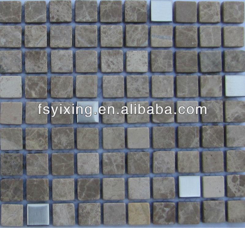 Sm25 metal karışımı mermer mozaik bordür backsplash, koridor ...