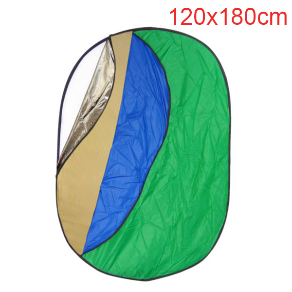7 in 1 120*180cm Photography Photo Oval Collapsible Disc Reflector with Translucent White Blue Green Gold Silver and Black Disc