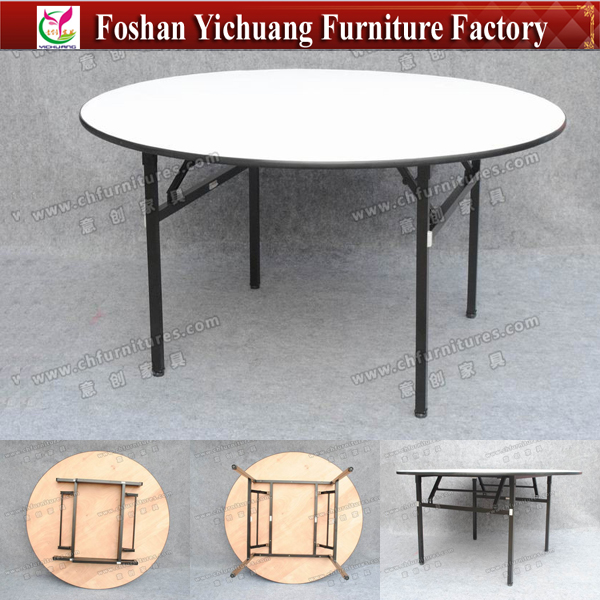 YC-T193 Foshan Strong Dining <strong>Table</strong> / Wholesale Steel Folding Round <strong>Table</strong> For Banquet