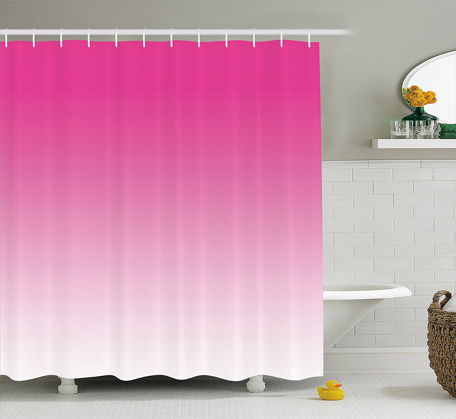 Get Quotations Ombre Shower Curtain By Ambesonne Hot Pink Candy And Cream Inspired Digital Design Print