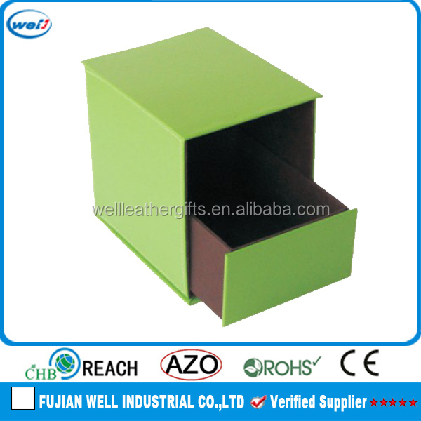 Green office leather storage box with drawer