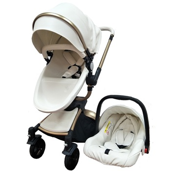 ab64a8c1bf5f European Style Baby Pram Pu Leather Baby Stroller 3 In 1 - Buy Baby ...