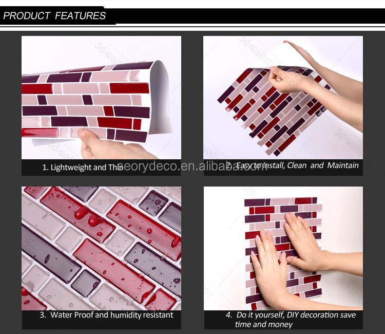 Home Improvement Building & Hardware wholesale smart wall tiles instant stick on mosaic