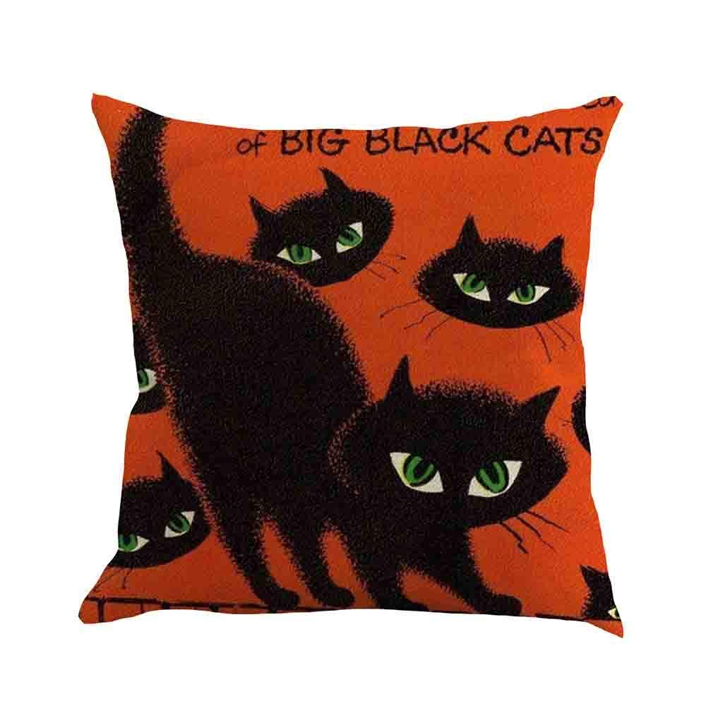 MaxFox Halloween Pumpkin Throw Pillow Cover Square Flax Pillow Case Cushion for Office Home Room Car Decor