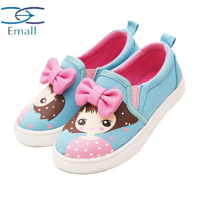 2015 Spring Autumn New Fashion Big Bow Girls Canvas Shoes Casual Child Kids Soft Bottom Canvas High Quality Girls Sneakers Shoe
