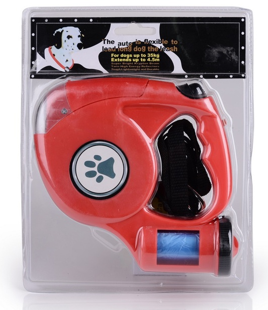 Retractable dog leash with flashlight and waste led retractable dog leash