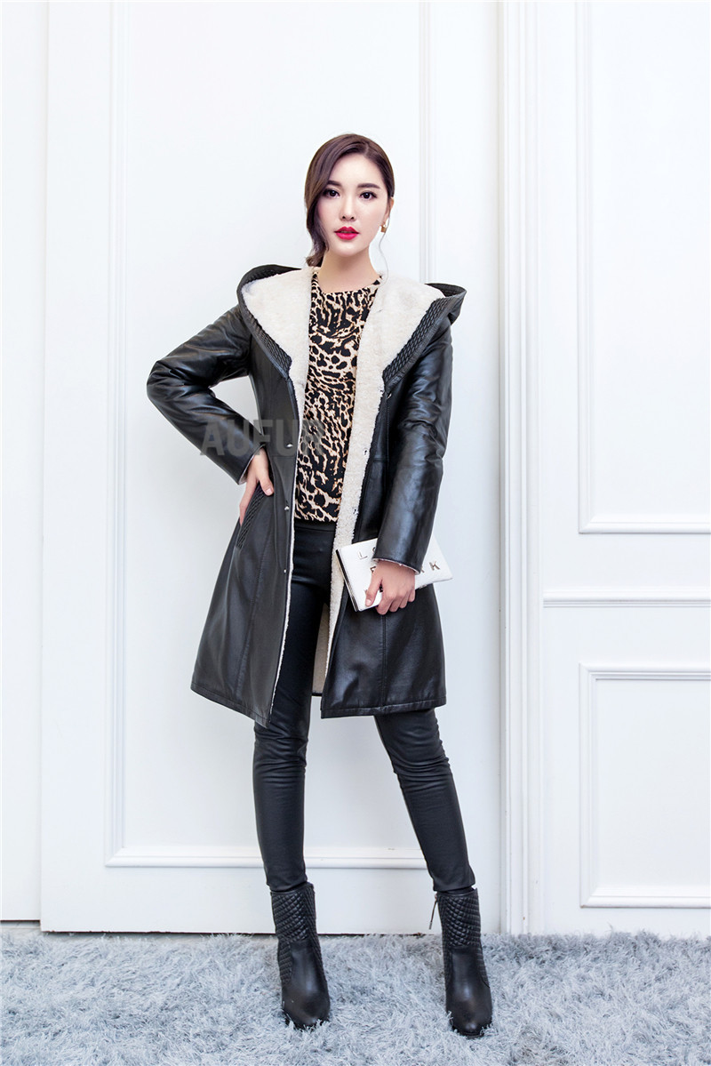 Buy Long Genuine Leather Coat Women Natural Lamb Fur Trimmed ...