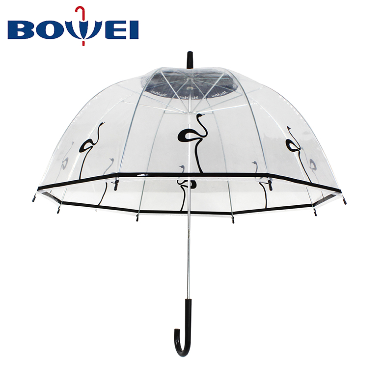 cheap factory direct clear bubble dome shaped apollo poe bird swan flamingo transparent rain umbrella