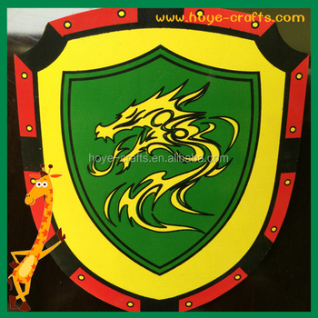 Weapon armory wall decoration colorful handmade wooden shield