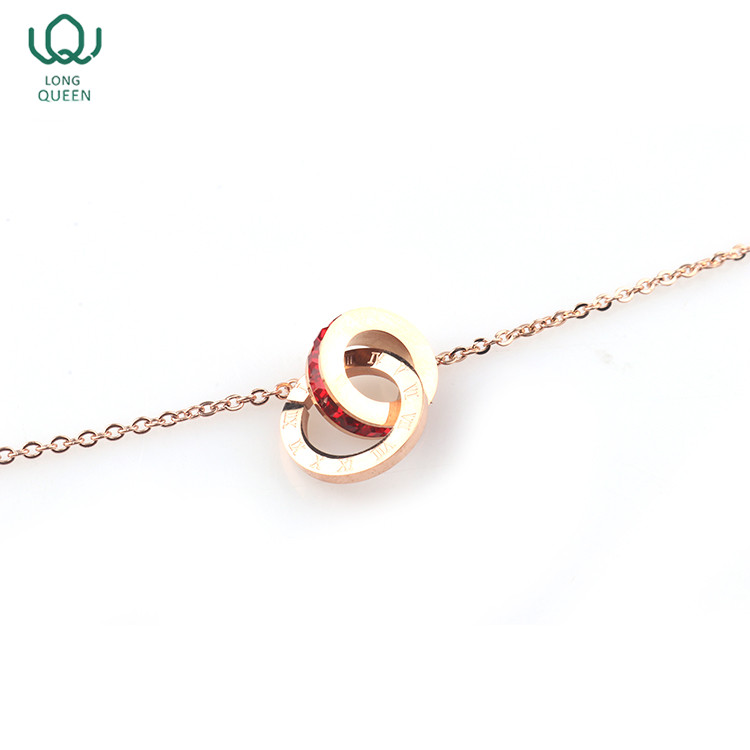 Wholesale fashion women jewelry necklace circle charms gold necklace