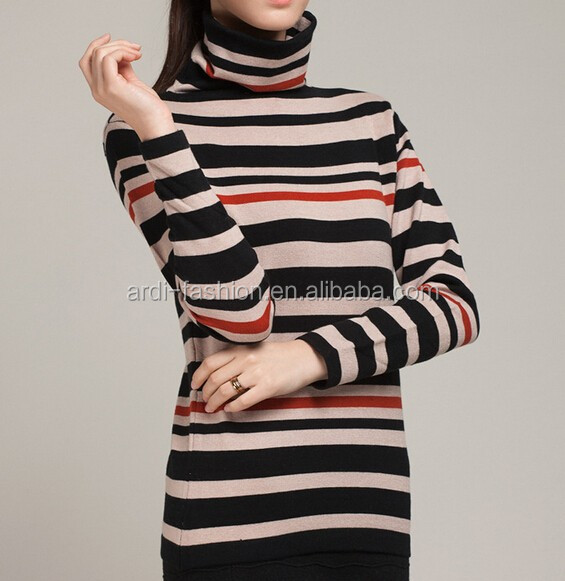 latest girls ladies hand knitted black red grey striped sweaters