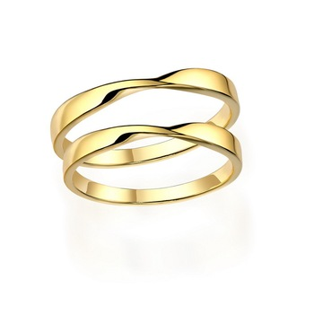 51ea1df841 ATHENAA Yellow Gold Soild Color Lover Couple Rings Set Wedding Engagement