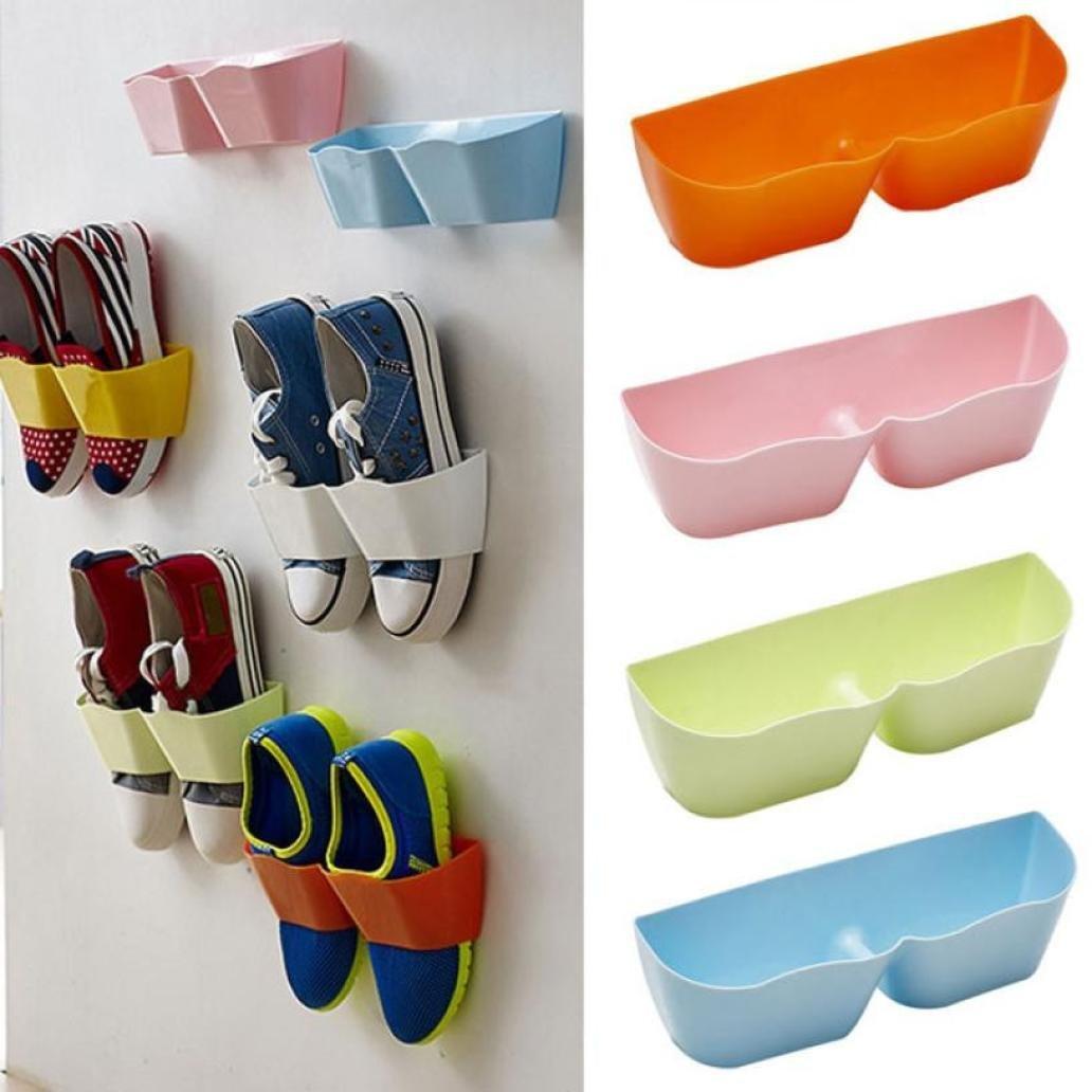 Amiley Creative Plastic Shoe Shelf Stand Cabinet Display Shelf Organizer hanging Rack (Sky blue)