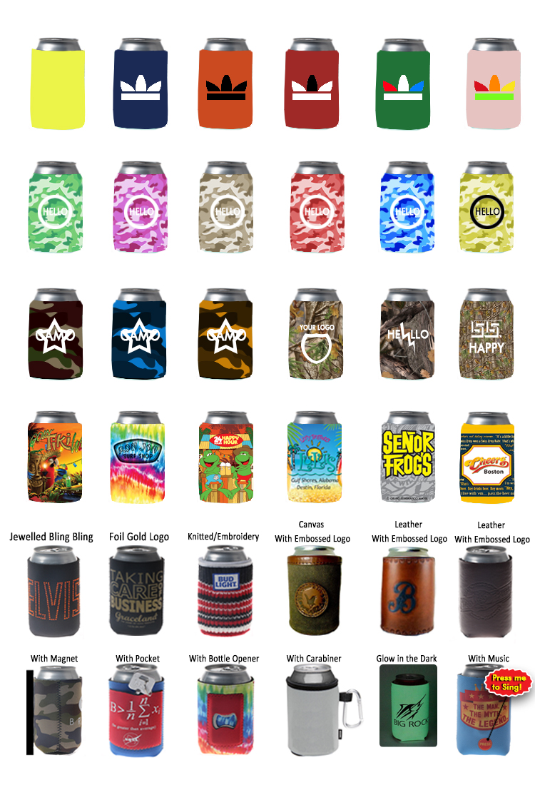 Custom Colorful Foldable Neoprene Beer Can Cooler