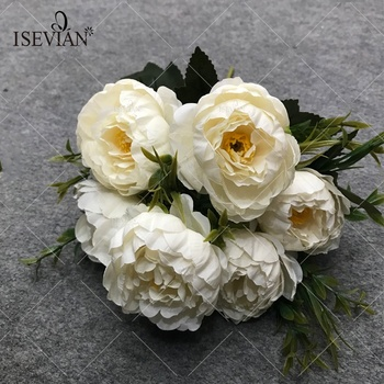 ISEVIAN Artificial Fabric Autumn Color Peony Flower Bush Flowers For Wedding Decoration