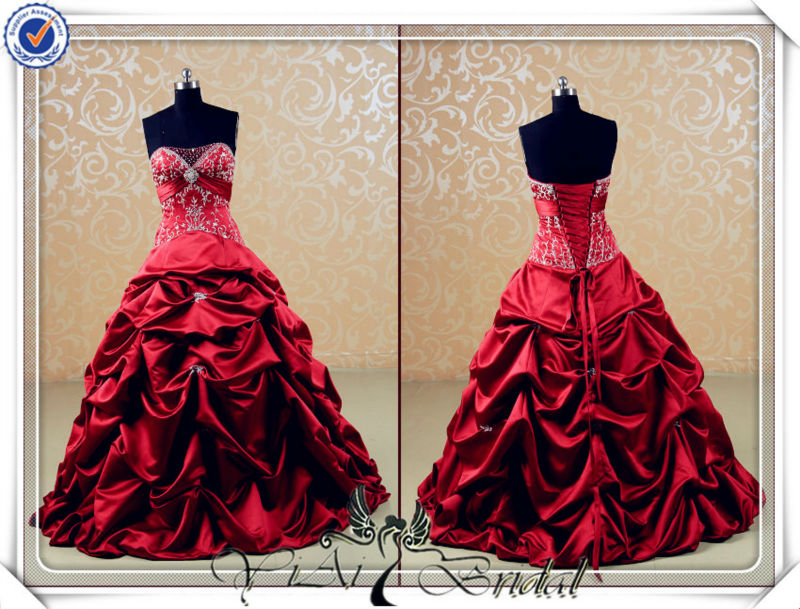 Jj3540 Puffy Embroidery Beautiful Red Wedding Dress For Sale Buy