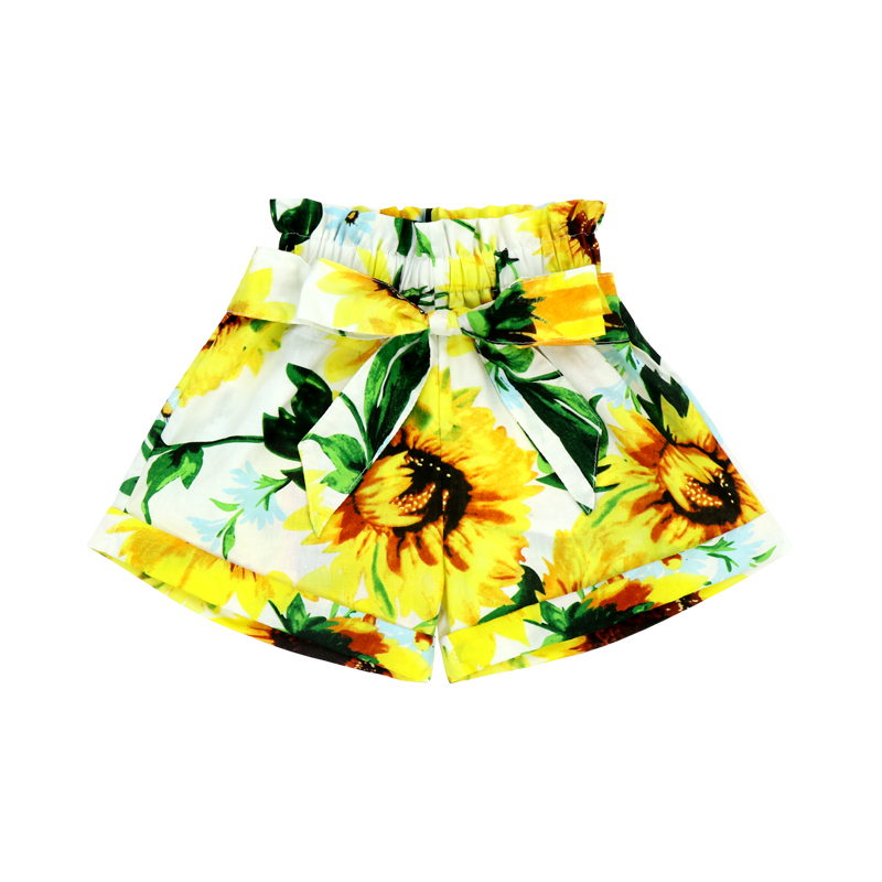 Girl Sunflower Elastic Casual Short Boho Belted High Waist Beach Summer Shorts