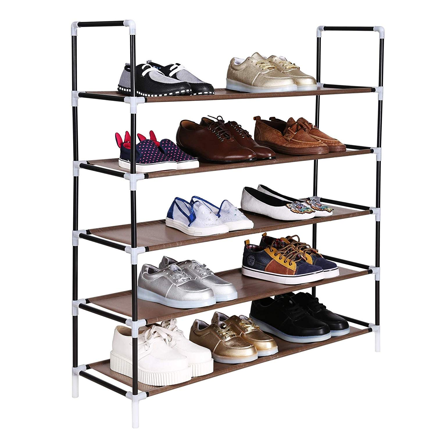 Benlet Adjustable DIY 5-Tier 20 Pairs Free-Standing Shoe Shelf Tower, Easy Assembled Non-Woven Fabric Home Space Saving Shoe Storage Organizer Cabinet (5-Tier, Brown)
