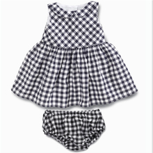 Classic check designer girl 2 pieces outfits dress baby kid clothing set