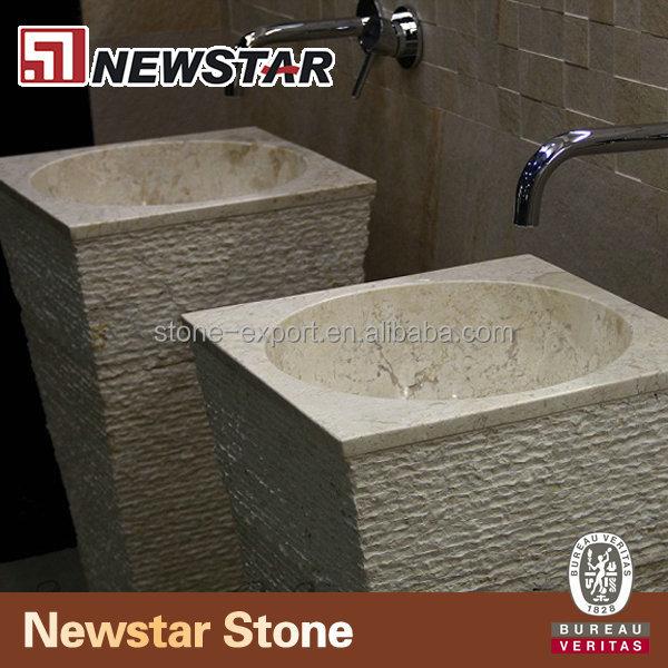Travertine Stone Pedestal Sink Vanity