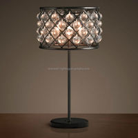 Modern and elegance vintage light bulb crystal decoration cordless restaurant table lamp