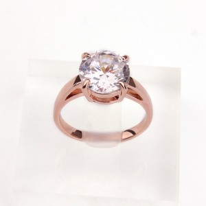 Personal Design Wholesale 18K Gold Plated Large Faceted Transparent AAA CZ Diamond Female Engagement Ring